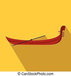 Gondola Ikone, flacher Stil.
