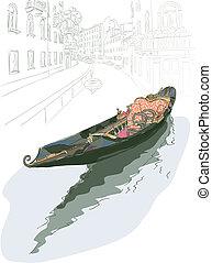 Gondola. Wasserfarbenstil.