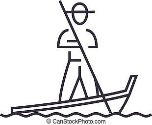 Gondola,venice Vektorlinie Icon, Zeichen, Abbildung im Hintergrund, editierbare Striche.