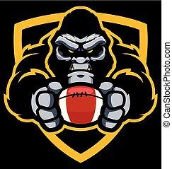 Gorilla-Amerikaner Football-Maskottchen.