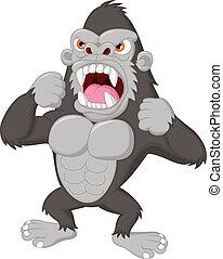 gorilla, karikatur, böser , zeichen