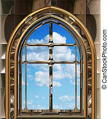 Gothic oder Scifi-Fenster mit blauem Himmel