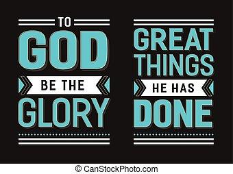 Gott sei die Herrlichkeit, die große Dinge, die er tat Gospel Hymn Texte Vektor-Poster Set.