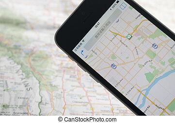 gps, navigationsoffizier, smartphone, landkarte