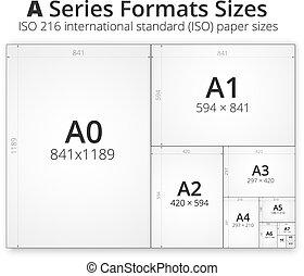 größe, papier, blätter, format
