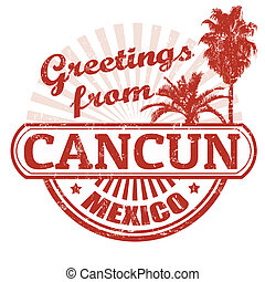 Grüße von Cancun Stempel.