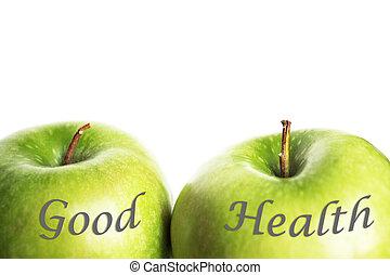 grün, gute gesundheit, äpfel