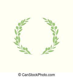 grün, kranz, licht, beeren, hand, gezeichnet, blätter