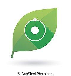 Grünblatt-Ikone mit Atom.