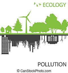 Grüne Ökologiestadt vor Verschmutzungsvektor Hintergrund.