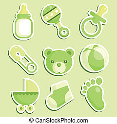 Grüne Baby-Dusche-Ikonen.