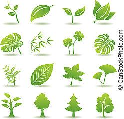 Grüne Blätter-Ikonen aufgestellt