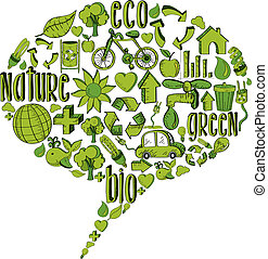 Grüne Blase mit Umweltzeichen