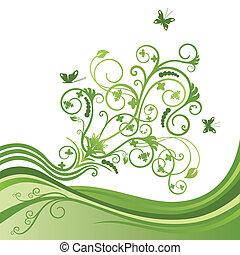 Grüne Blume und Schmetterlingsgrenze