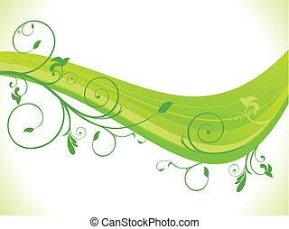 Grüne Blumenwelle abbrechen