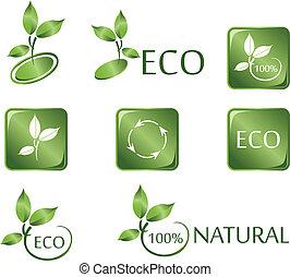 Grüne ECO-Ikonen