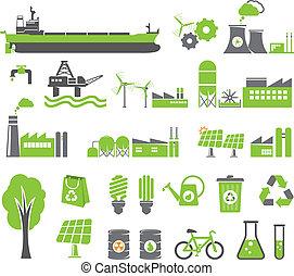 Grüne Energiesymbole