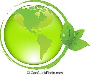 Grüne Erde mit Blättern.