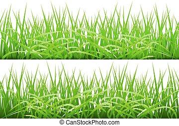 Grüne Grasgrenzen gesetzt, Vektorgrafik.