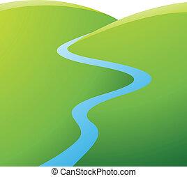 Grüne Hügel und blauer Fluss