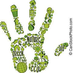 Grüne Hand mit Umweltzeichen