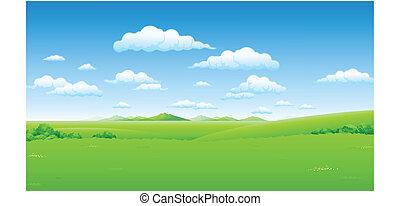 Grüne Landschaft mit blauem Himmel