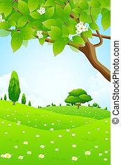 Grüne Landschaft mit Blumen.