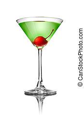 Grüne Martini-Cocktail isoliert auf weiß