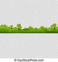 Grüne Naturlandschaft isoliert transparenten Hintergrund.