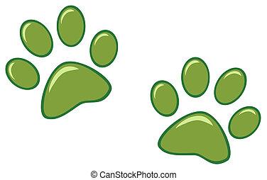 Grüne Pfotenabdrücke