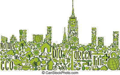Grüne Stadt-Silhouette mit Umwelt-Ikonen