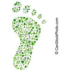 Grüne umweltfreundliche Fußabdrücke mit Ökologie-Ikonen.