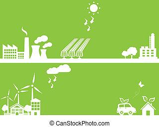 Grüne umweltfreundliche Stadt