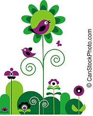 Grüne und lila Blumen mit Schmetterlingen und Vögeln