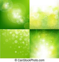 Grüner ökologischer Hintergrund mit verschwommenem Set.