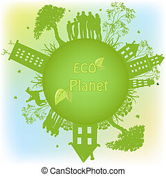 Grüner ökologischer Planet.