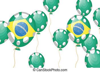 Grüner Ballon brasilianischer Flagge mit weißen Flecken