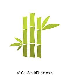 Grüner Bambusstamm, flache Ikone.