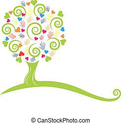 Grüner Baum, Hände und Herzen Logo
