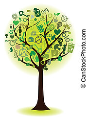 Grüner Baum mit ökologischen Ikonen