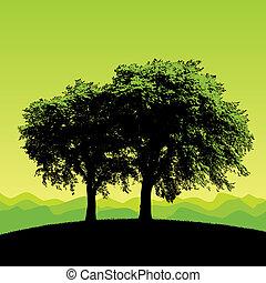 Grüner Baumvektor-Hintergrund