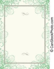 Grüner Blumenhintergrund und Dekorationsrahmen
