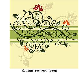 Grüner Blumenmustervektor illustriert