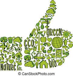 Grüner Daumen mit Umweltzeichen
