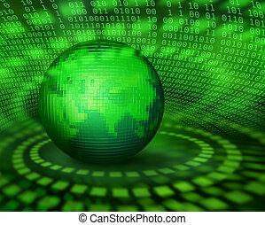 Grüner digitaler Pixelplaneten