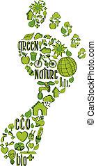Grüner Fußabdruck mit Umweltzeichen