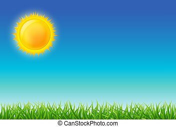 grüner himmel, karikatur, abbildung, grass., vektor, hell blau, sonne