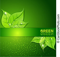 Grüner Hintergrund mit Blättern und Tautropfen