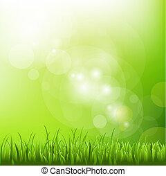 Grüner Hintergrund mit Flecken und Gras