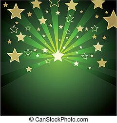 Grüner Hintergrund mit Goldstern